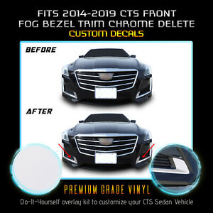 For 2014-2019 Cadillac CTS Fog Trim Cover Overlay Chrome Delete Kit - Flat Matte