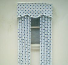 Dollhouse Miniature Handmade Green Plaid Pleated Drapes Curtains
