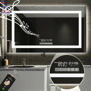 New Smart LED Mirror Touch Bathroom Wall Mounted Anti-Fog Bluetooth Music Lights