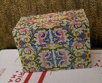 Vintage Ohio Art Tin Metal Recipe Box Colorful Botanical Flourish Motif