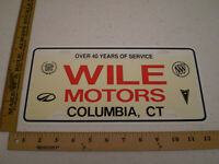 WILE MOTORS COLUMBIA DEALER CONNECTICUT PLASTIC BOOSTER FRONT LICENSE PLATE