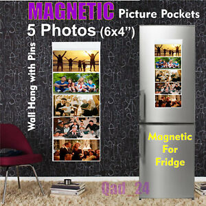 MINI Picture Pockets Magnetic Hanging Photo Wall Gallery 5 Photos Frame Fridge