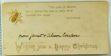 1870' Christmas Card  Shakespeare Quote Embossed Bee Insect Fabulous! P89