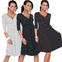 Elegant Women 3/4 Sleeve Polka Dot Evening Office Work Swing Dress US Size 6-16