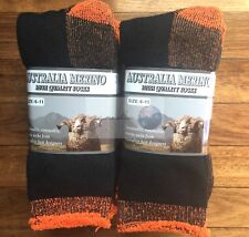 6 PAIRS 6-11 HEAVY DUTY AUSTRALIAN MERINO EXTRA THICK WOOL SOCKS BLACK/ORANGE