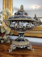 Deckelvase Porzellan Bronze Prunkvase Urne Antik Barock Pokal Vase Luxus Schale