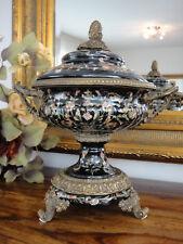 Luxus Deckelvase Porzellan Bronze Prunkvase Urne Antik Barock Pokal Vase Schale