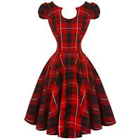 Hearts and Roses London Red Tartan 1950s Retro Vintage Swing Jive Dress