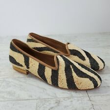 Zalo Tapestry Loafers Animal Print Leather Sole Made in Spain Womens Size 6.5M