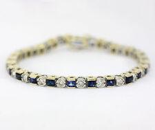 Diamond sapphire bracelet 14K 2 tone gold princess round brilliant 4.95CT 14.7GM