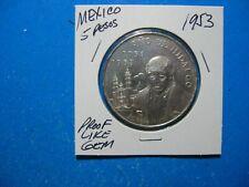 MEXICO 5 PESOS .720 SILVER 1953 HIDALGO 100th ANNIVERSARY PROOF-LIKE GEM