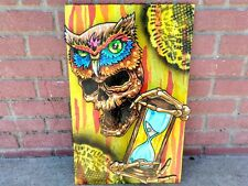 Original 3D painting/sculpture owl skull hourglass Illuminati tattoo fate time