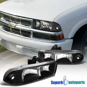 For 1998-2004 Chevy S10 Headlights Head Lamps Blazer Black