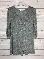 Boutique Cherish Women's S Small Gray Marled 3/4 Sleeves Soft Fall Sweater Tunic