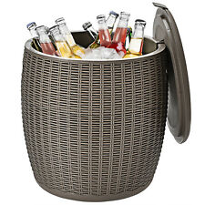 New listing Patiojoy 12 Gallon 4-in-1 Patio Rattan Cool Bar Side Table Cocktail Table Brown