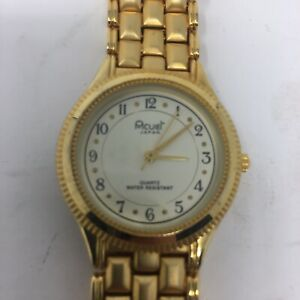 Acuet gold tone quartz chain link dress watch japan second hand-WORKS TESTED