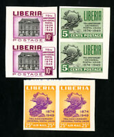 Liberia Stamps # 330-1 + C67 XF Imperf pairs OG NH