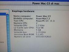 Apple Mac PowerPC G5 A1047 2.7ghz dual processor 8gb ram + seconda scheda video