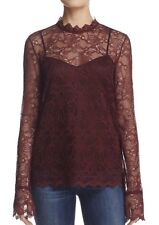 NWT $315 theory LS 2pc Scalloped light lace bell sleeve blouse top H0907504