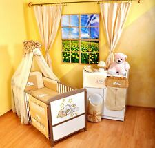NEW WHITE-BROWN 2in1 COT-BED 120x60 WITH 12-PIECE BEDDING no 16 - MATTRESS FREE