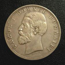 1881 ROMANIA KING CAROL I Silver 5 Lei Coin XF -