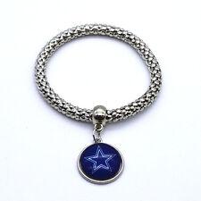 Dallas Cowboys Round Team Logo Charm Dangle Fashion Silver Tone Stretch Bracelet