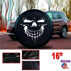 """16"""" BLACK Grinning Skull Spare tire cover 30-31"""" for RV Jeep Truck SUV SIze L"""