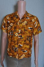 Vintage '70s Men's Momi gold floral print hawaiian metal button shirt S