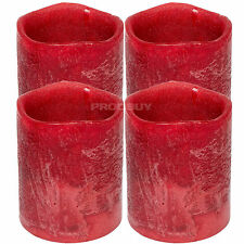 Set of 4 Red Wax LED 10cm Tall Flameless Pillar Church Candles Battery Operated
