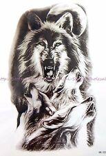 "black wolf 8.25"" large temporary arm tattoo bracelet wrist tattoos"
