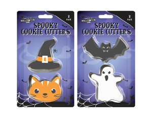 Halloween Spooky Cookie Cutter 2 PACK Cat & Hat/Bat & Ghost Cake Baking Tools