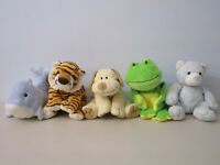 Ty Pluffies Lot of 5 Plush Stuffed Animal Frog Lion Dog Bear Dolphin