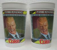 "FOUR (4) VINTAGE MAX HEADROOM COKE 5 1/2"" PLASTIC CUPS  NEVER USED"