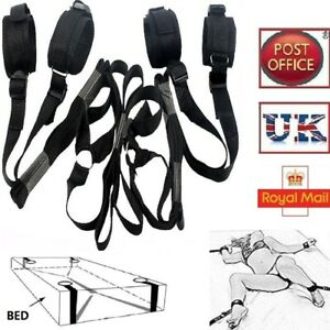 Dungeon Bed Restraint Nylon Straps System Wrist Ankle Cuffs, Free Blindfold, UK
