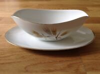 Noritake of Japan Wheaton Pattern 5414. Gravy Boat with attached Saucer.