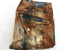 Robin's Jean Long Flap Motard Moto Jeans Camo W/Crystal Swarovski Stud Size 33