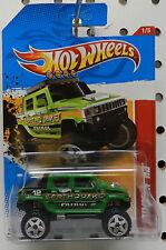 GREEN EARTHQUAKE PATROL H2 RACER 221 2012 1 HUMMER 4X4 SUV HW HOT WHEELS
