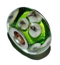 Pre-Owned Genuine CHAMILIA Silver & Murano Glass 'Leprechaun Blooms' Bead - #1