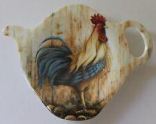 Chicken Rooster Rise & Shine (blue) Tea Bag Holder / Spoon Rest - Ashdene