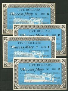 """Weeda Canada Lot of 4 $5 certificates to the Princess Mary """"Restaurant Vessel"""""""