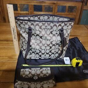 Genuine Coach Leather F36375-SKHMA Khaki/Mahogany Handbag Tote  matching wallet