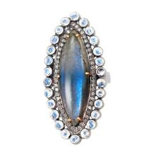 Labradorite Marquise Diamond Ring 14k Gold Moonstone Sterling Silver Jewelry CY