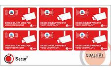 6 Stück iSecur Aufkleber Videoüberwacht, Alarmanlage, Video, innenklebend, 050