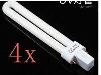 4 Lampara Repuesto UV Secador Uñas 9W Ultravioleta Manicura Tubo Bombilla focos