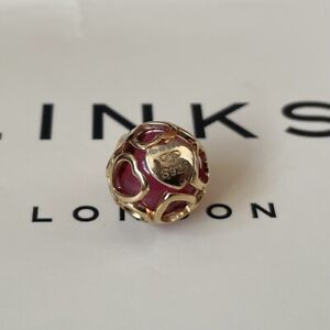 Links of London 18ct Rose Gold Vermeil and Red Glass Heart Play Bead ~ NEW