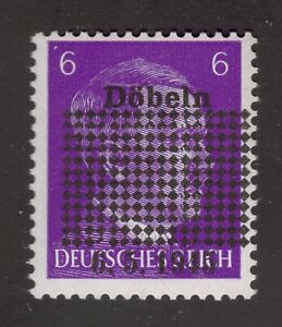 Döbeln - 1945 Mi. 1a, 6pf Hitler Head with blackout obliterations