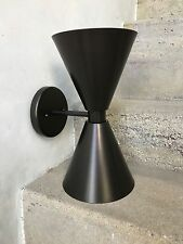 DC137 DOUBLE CONE SCONCE RUBBED BRONZE POWDER COAT FINISH USA
