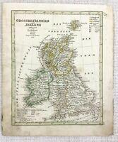 1842 Ancien Carte De Grande-Bretagne Et Irlande Rare Main Coloré Gravure
