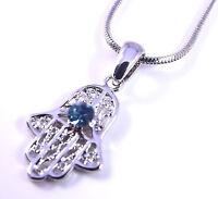 Hamsa Judaica Necklace Pendant Kabbalah Lucky / Evil Eye Hand Of Fatima Silver