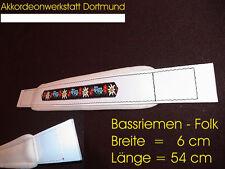 6 x 54 cm, Akkordeon Bassgurt, correa acordeon, accordion bass strap FOLK White